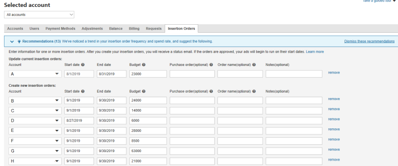 Product view of the insertion orders tab, with editable fields.
