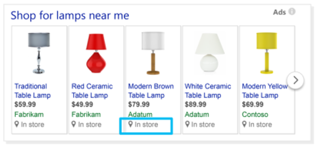Product view of Local Inventory Ads example, with views of Bing search results.