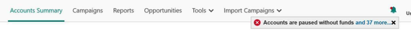 Product view of preview bar, floating over the accounts summary menu bar.