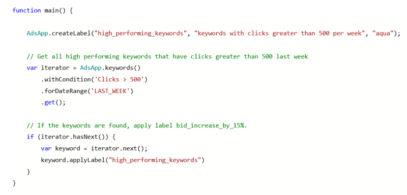 Product view of Microsoft Advertising script function and label creation.