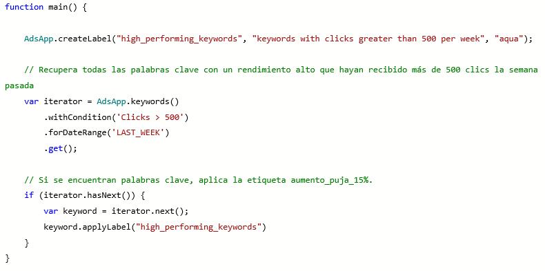 Vista de producto de la función de script y la creación de etiquetas de Microsoft Advertising.