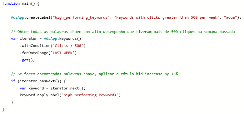 Visualização do produto da criação de rótulos e da função de script do Microsoft Advertising.