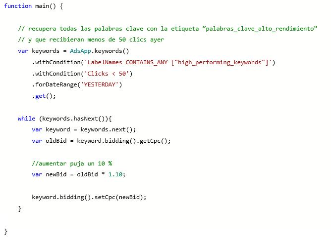 Vista de producto de la función de edición de script de Microsoft Advertising usando una etiqueta.