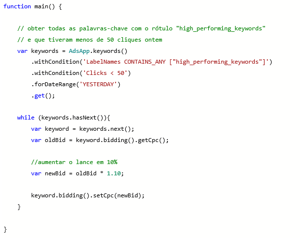 Visualização do produto da função de script do Microsoft Advertising usando um rótulo.