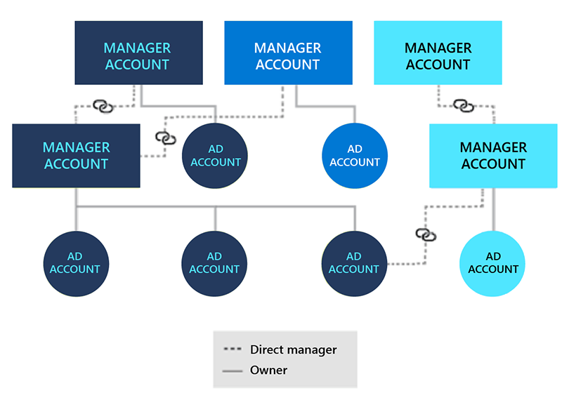 Chart view of manager accounts and account owners.