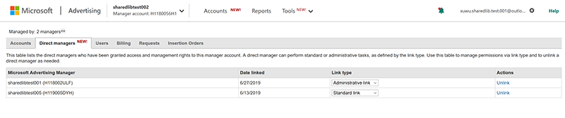 Product view of direct managers tab.