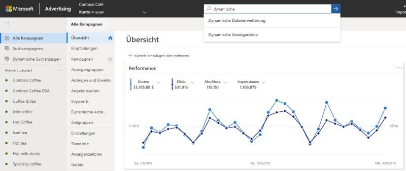 Produktansicht des neuen Suchfelds im globalen Menü von Microsoft Advertising.