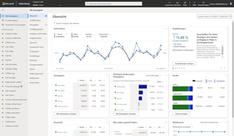 Produktansicht der neu gestalteten Oberfläche von Microsoft Advertising mit den neuen Navigationsbereichen und der Zusammenfassungsseite.