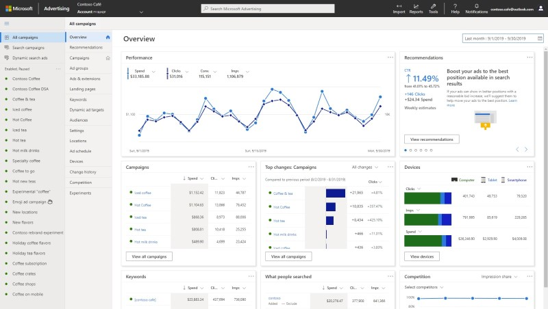 Product view of the redesigned Microsoft Advertising interface, showing the new navigation regions together with the overview page.