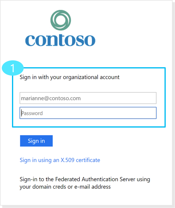 Product view of a login window showing required login methods.