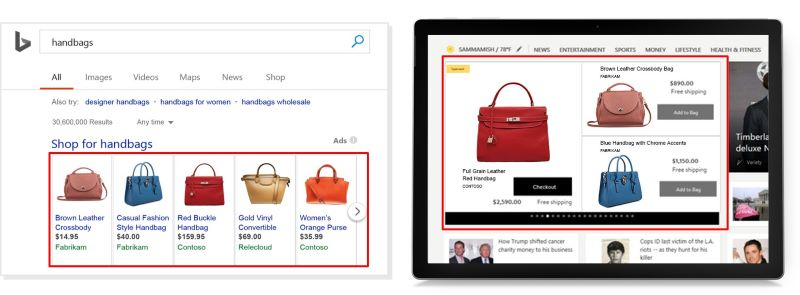 Product view of a product audiences ad in the search results.