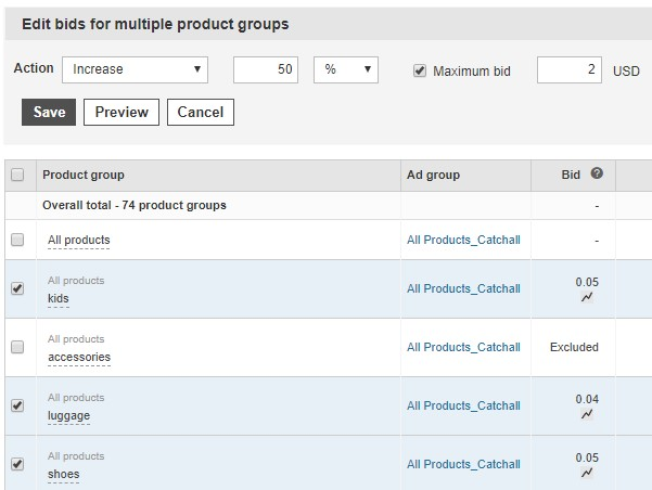 Product view of the edit bids for multiple product groups interface.