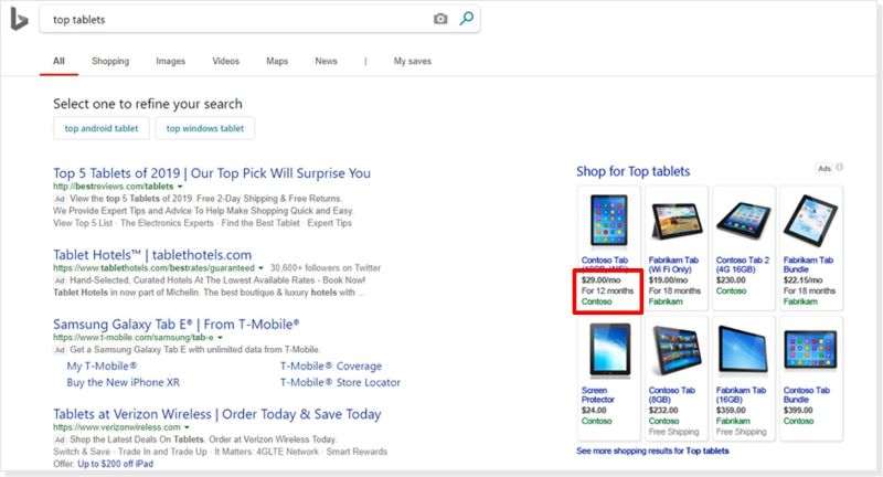 Product view of an installment feed pricing ad in the search results.