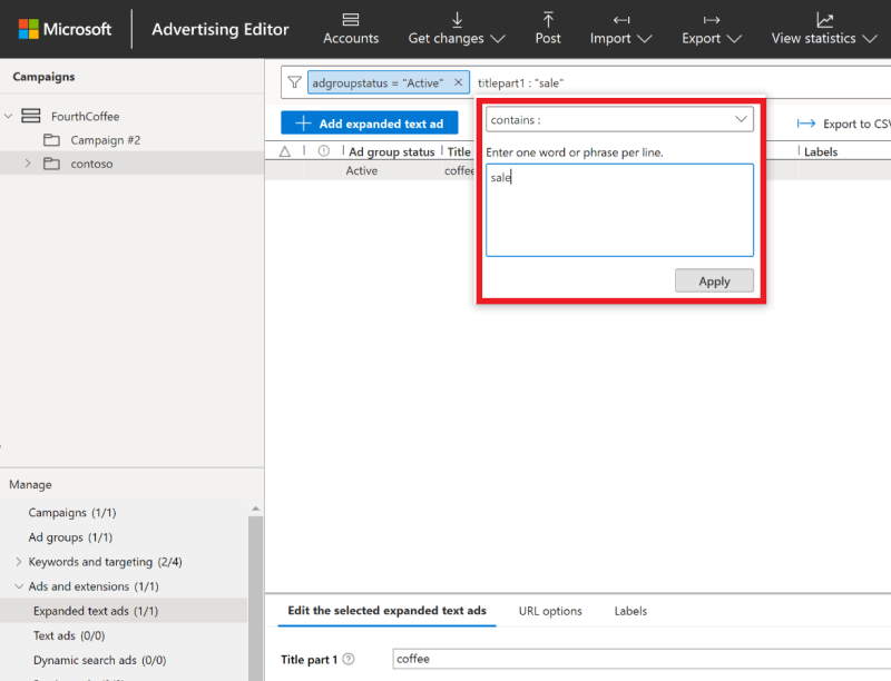 Product view of the Microsoft Advertising Editor search box.