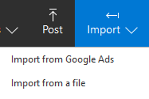 Product view of Post and Import menu options.