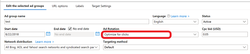 Product view of Ad group settings in Editor showing the Ad Rotation option.