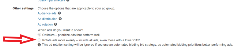 Product view of Ad group settings in Microsoft Advertising online showing the Ad Rotation option.