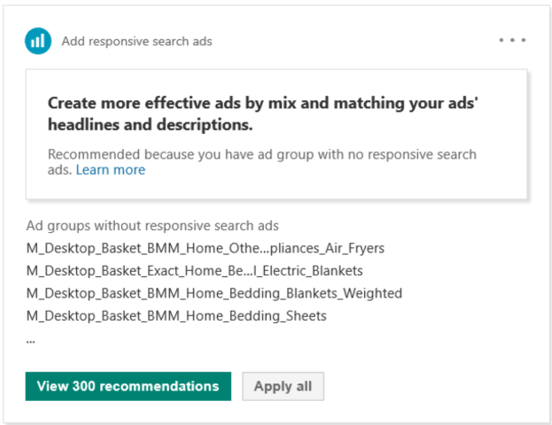 Product view of the Responsive Search Ads recommendations.