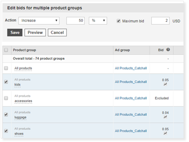 Product view of interface for editing multiple bids.