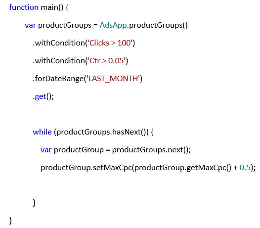 Sample code for monitoring product groups performance.