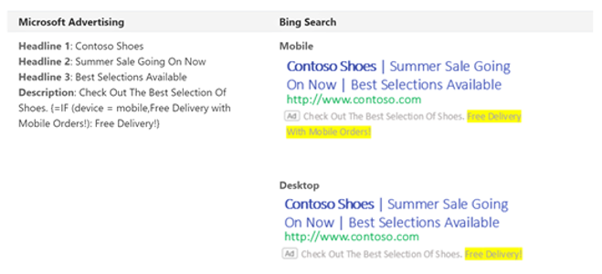 Product view of targeted text results for a mobile customer.