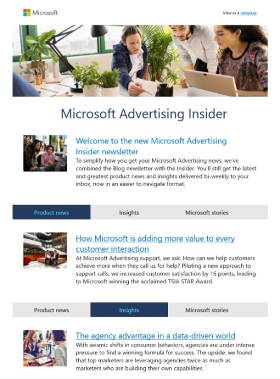 Product view of the Microsoft Advertising Insider email newsletter.