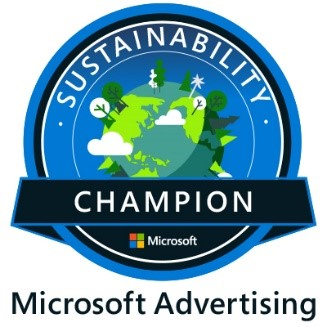 Microsoft Advertising Sustainability Champion badge.