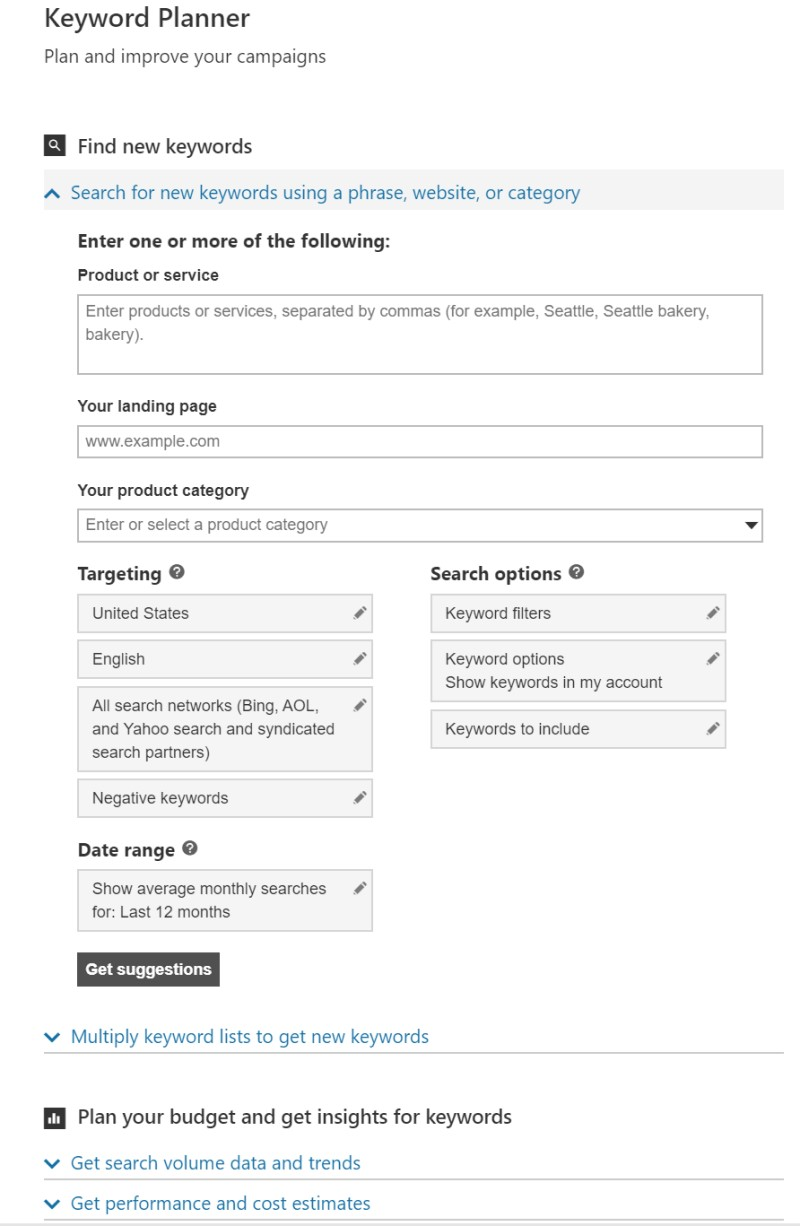 Product view of the keyword planner interface.
