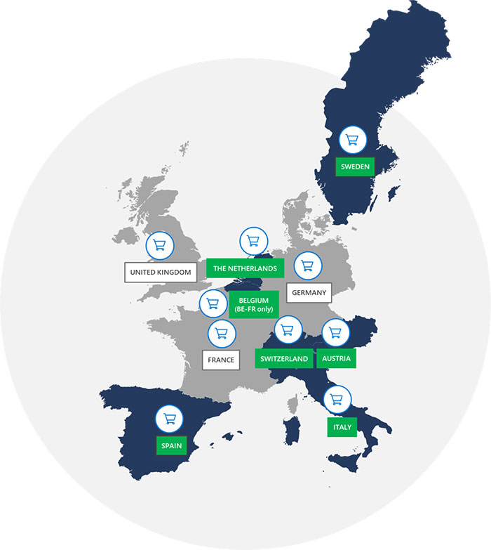 Map showing countries in Europe where Microsoft Advertising Shopping Campaigns has been launched.