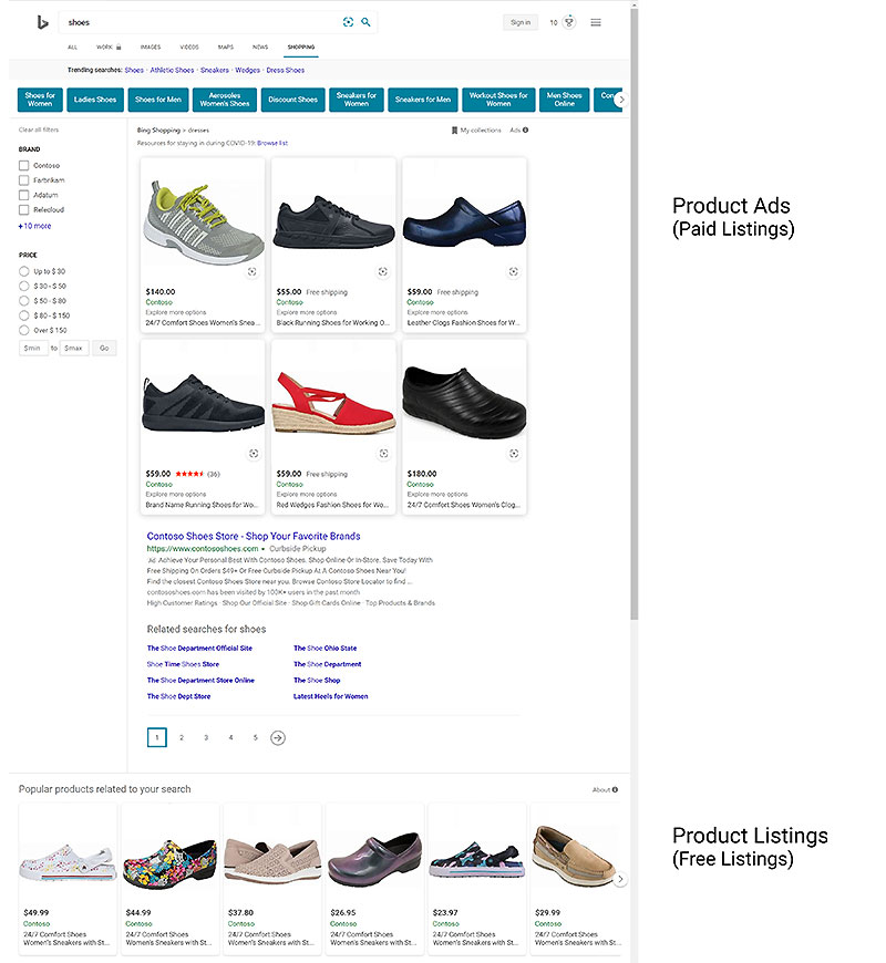 Product view of paid Product ads and free Product Listings on the Bing Shopping site.