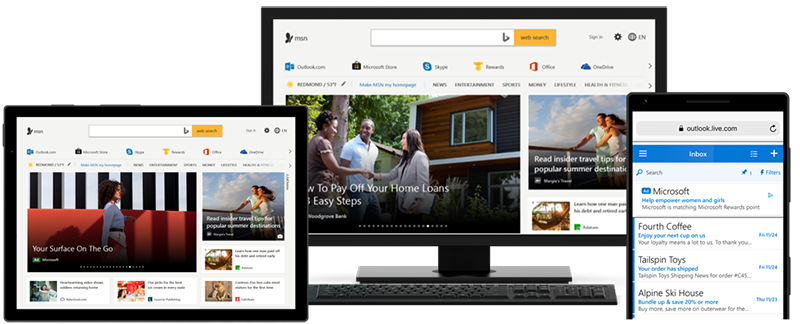 Examples of Microsoft Advertising ads on the Microsoft Audience Network.