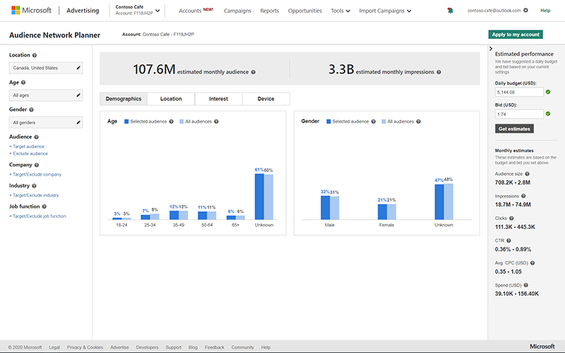 Product view of the Audience Network Planner interface.