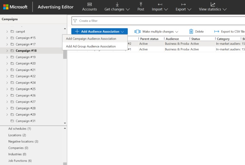 Product view of the add audience association dropdown in Editor.
