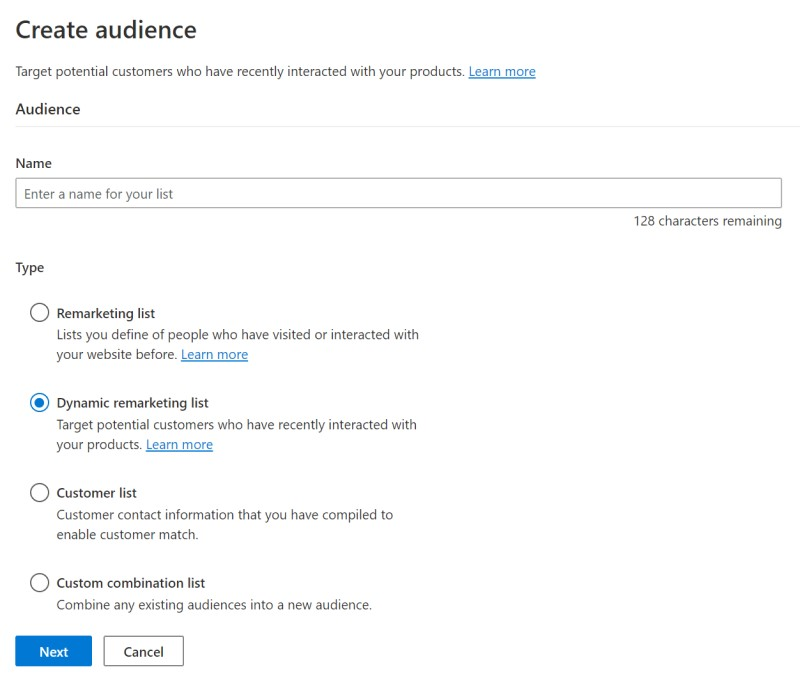 Product view of the create audience window.