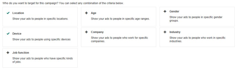 Product view of LinkedIn Profile targeting interface windows, part 1.