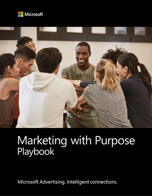 Cover image of the Marketing with Purpose playbook showing a different genders and ethnicities of people in a sports huddle.