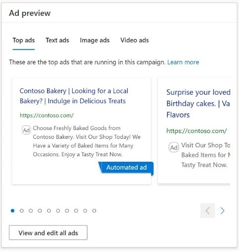 Product view of the ad preview interface.