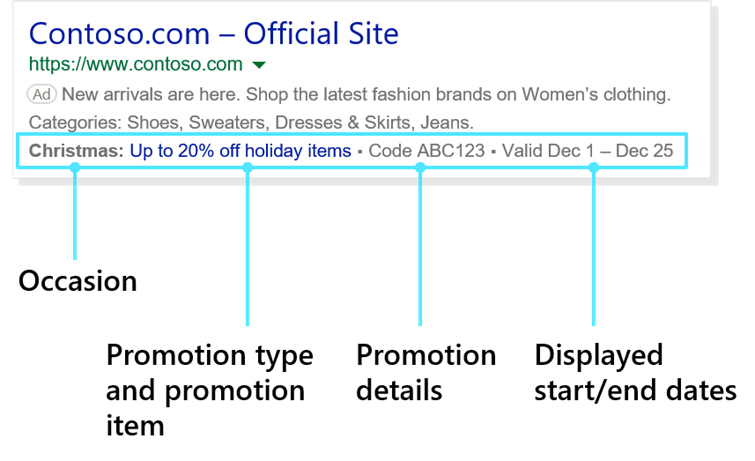 Product view of Promotion Extensions as they appear in a sample ad.