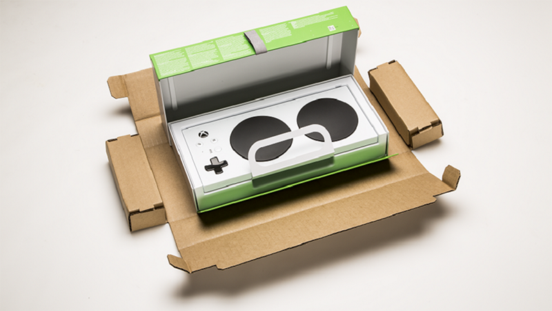 Accessibly designed packaging for the xbox adaptive controller.