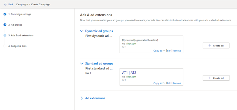 Product view of the create campaign window, showing both dynamic ad groups and standard ad groups.