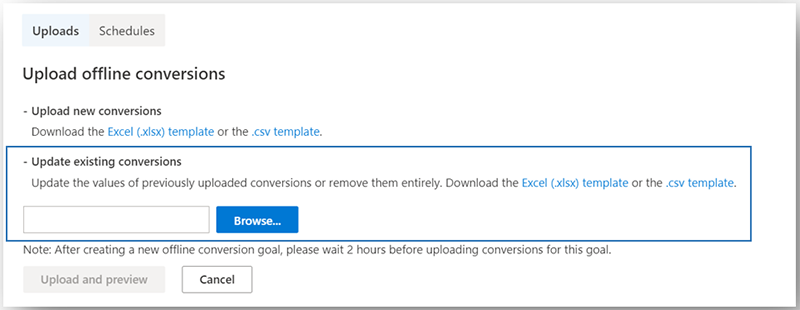Product view of the conversions adjustment field in the Microsoft Advertising user interface.