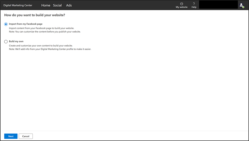 Product view of the website build options page in Digital Marketing Center.