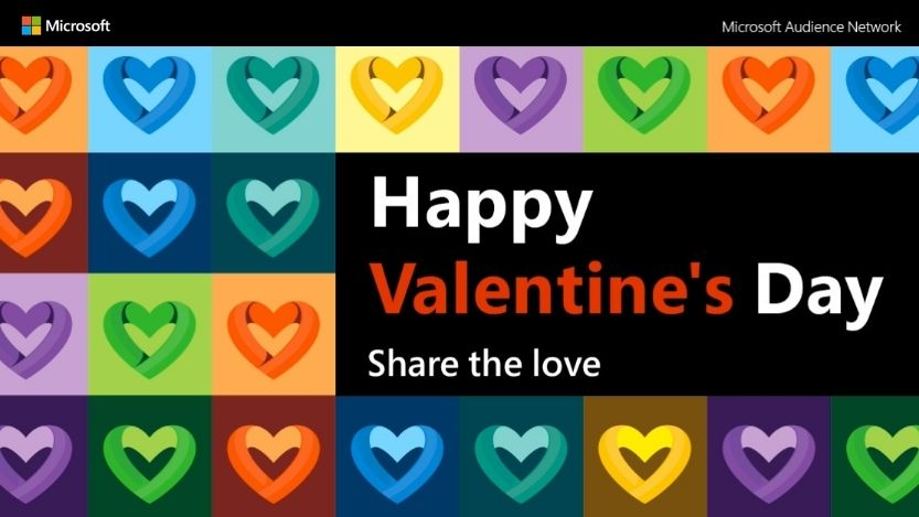 Decorative image of a montage of multicolored hearts with the Microsoft Audience Network logo and title 'Happy Valentine's Day -  Share the love'.