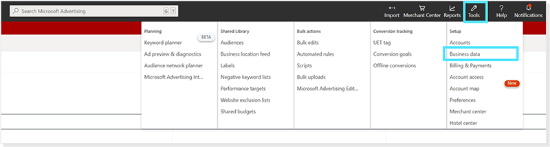 Product view of the Tools menu, with business data dropdown displayed.
