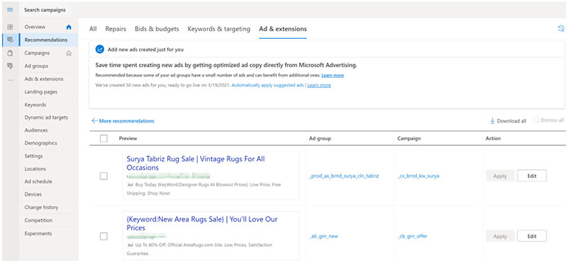 Product view of the Ad & extensions tab on the recommendations page, where you can add or dismiss new suggested ads.