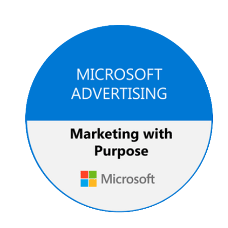 Microsoft Advertising Marketing with Purpose badge.