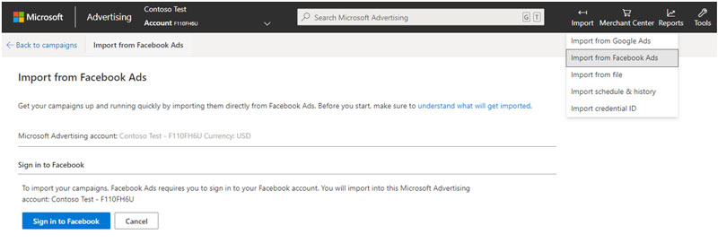 Product view of the Import from Facebook Ads interface window.