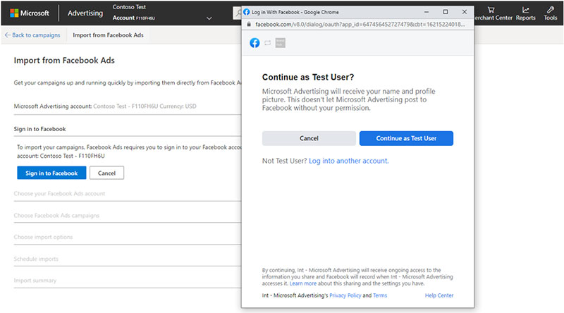 Product view of the Import from Facebook Ads sign-in window.