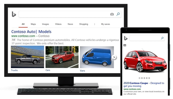 Product view of Microsoft Advertising multi-image extensions ads.
