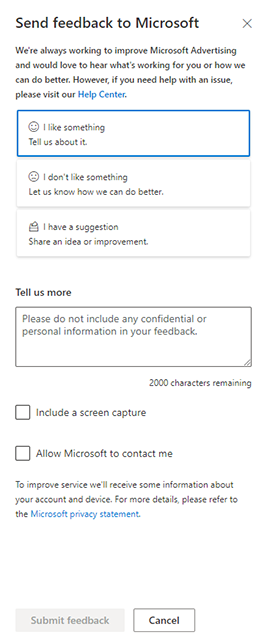 Product view of Microsoft Advertising feedback form.